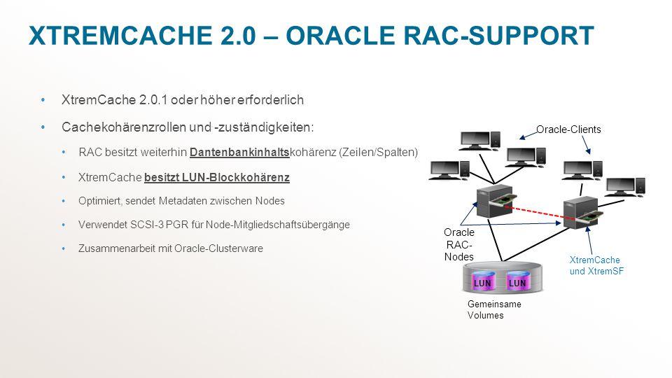 XTREMCACHE 2.0 – ORACLE RAC-SUPPORT XtremCache 2.0.1 oder höher erforderlich Cachekohärenzrollen und -zuständigkeiten: RAC besitzt weiterhin Dantenban