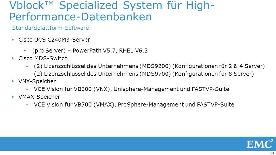 34  Cisco UCS C240M3-Server  (pro Server) – PowerPath V5.7, RHEL V6.3  Cisco MDS-Switch –(2) Lizenzschlüssel des Unternehmens (MDS9200) (Konfigurat
