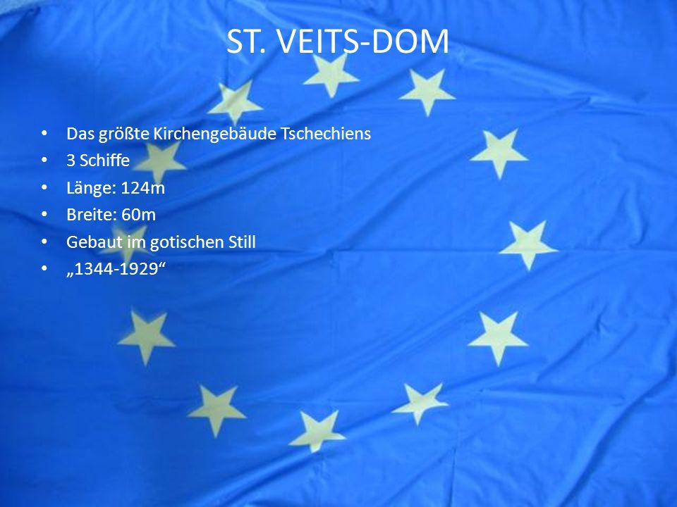 """ST. VEITS-DOM Das größte Kirchengebäude Tschechiens 3 Schiffe Länge: 124m Breite: 60m Gebaut im gotischen Still """"1344-1929"""""""