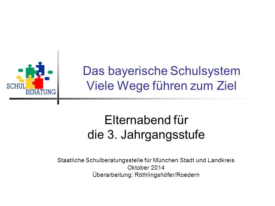 Das bayerische Schulsystem Viele Wege führen zum Ziel Elternabend für die 3. Jahrgangsstufe Staatliche Schulberatungsstelle für München Stadt und Land