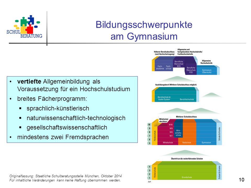 Originalfassung: Staatliche Schulberatungsstelle München, Oktober 2014 Für inhaltliche Veränderungen kann keine Haftung übernommen werden. 10 Bildungs