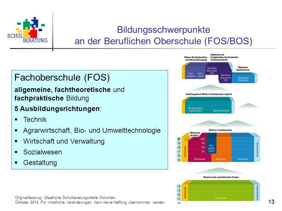 Originalfassung: Staatliche Schulberatungsstelle München, Oktober 2014. Für inhaltliche Veränderungen kann keine Haftung übernommen werden. 13 Bildung