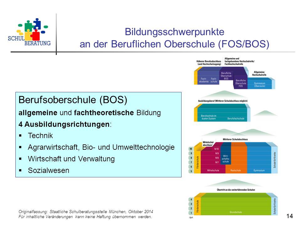 Originalfassung: Staatliche Schulberatungsstelle München, Oktober 2014 Für inhaltliche Veränderungen kann keine Haftung übernommen werden. 14 Bildungs