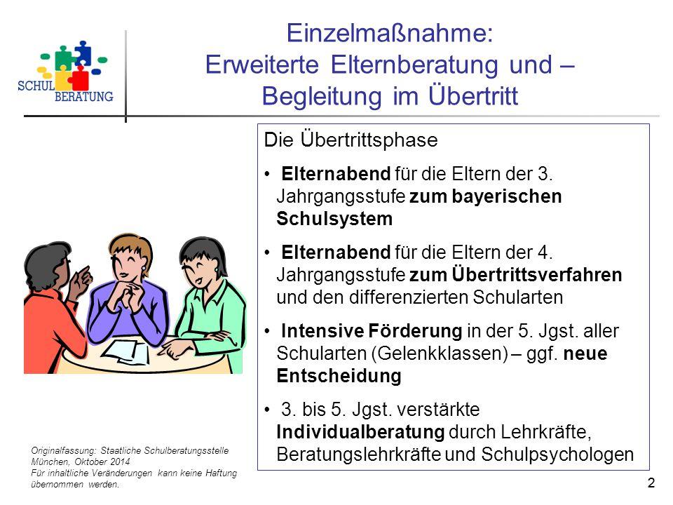 Originalfassung: Staatliche Schulberatungsstelle München, Oktober 2014 Für inhaltliche Veränderungen kann keine Haftung übernommen werden. 22 Einzelma