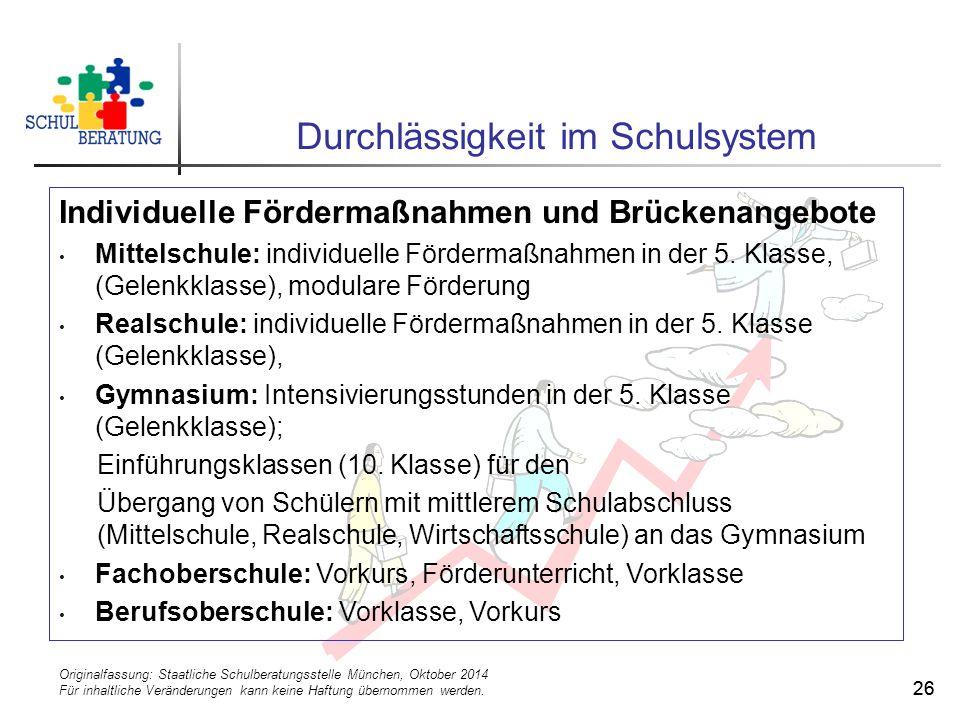 Originalfassung: Staatliche Schulberatungsstelle München, Oktober 2014 Für inhaltliche Veränderungen kann keine Haftung übernommen werden. 26 Durchläs