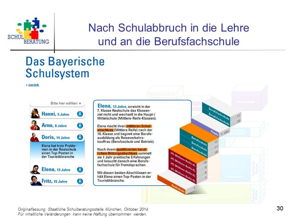 Originalfassung: Staatliche Schulberatungsstelle München, Oktober 2014. Für inhaltliche Veränderungen kann keine Haftung übernommen werden. 30 Nach Sc