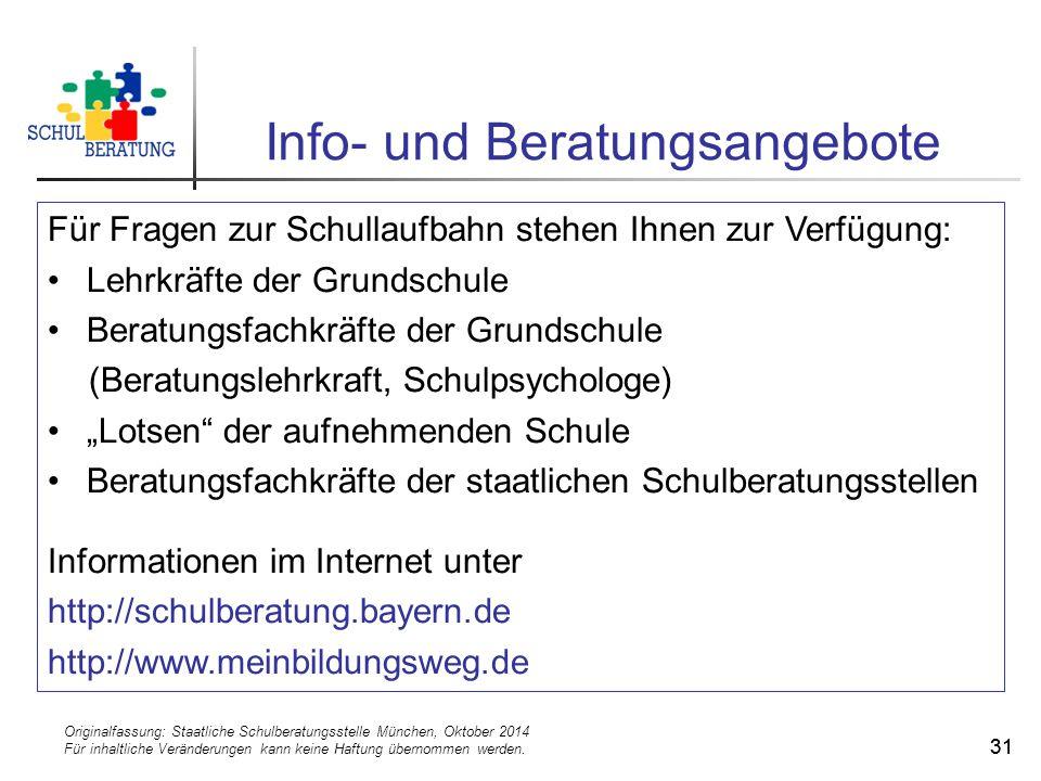 Originalfassung: Staatliche Schulberatungsstelle München, Oktober 2014 Für inhaltliche Veränderungen kann keine Haftung übernommen werden. 31 Info- un