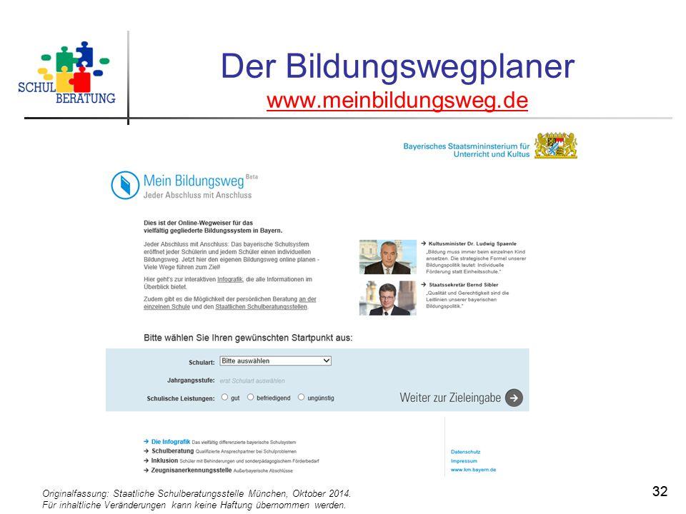 Originalfassung: Staatliche Schulberatungsstelle München, Oktober 2014. Für inhaltliche Veränderungen kann keine Haftung übernommen werden. 32 Der Bil