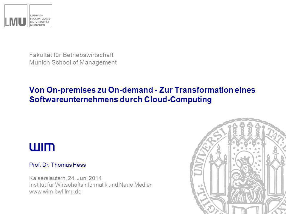 Von On-premises zu On-demand Agenda 1  Cloud Computing und die Software-Industrie  Zielsetzung der Studie  Vorstellung von exemplarischen Fällen  Schlussfolgerung