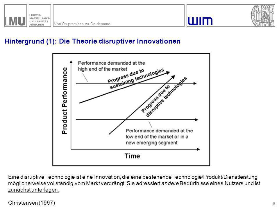 Von On-premises zu On-demand Hintergrund (1): Die Theorie disruptiver Innovationen 9 Eine disruptive Technologie ist eine Innovation, die eine bestehe