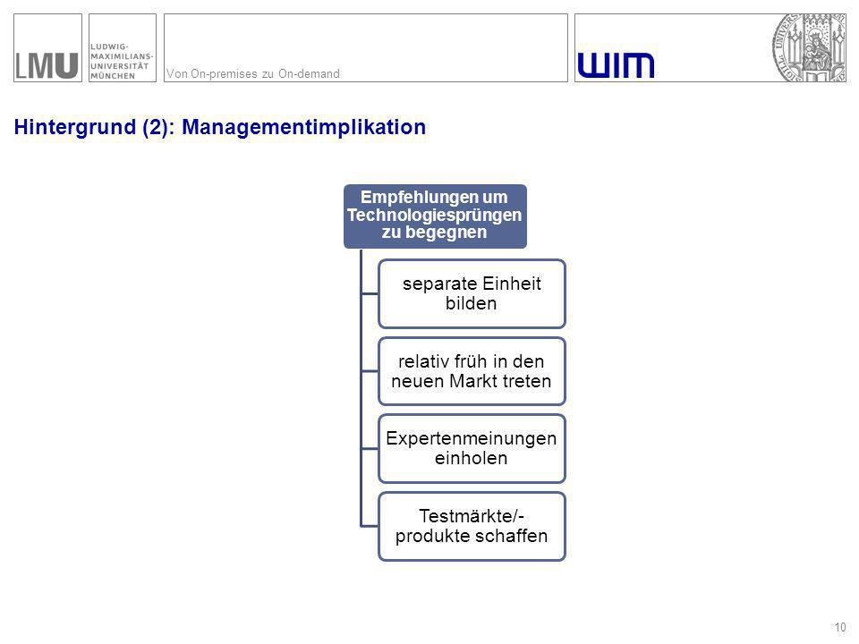 Von On-premises zu On-demand Hintergrund (2): Managementimplikation 10 Empfehlungen um Technologiesprüngen zu begegnen separate Einheit bilden relativ