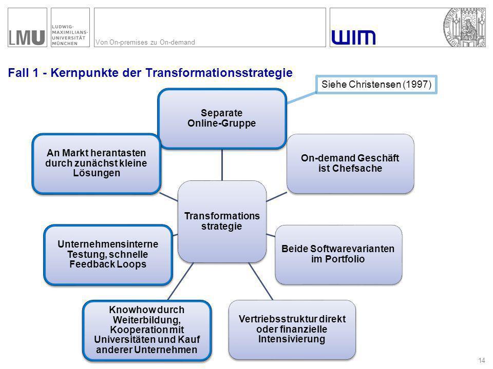 Von On-premises zu On-demand Fall 1 - Kernpunkte der Transformationsstrategie 14 Transformations strategie Separate Online-Gruppe On-demand Geschäft i