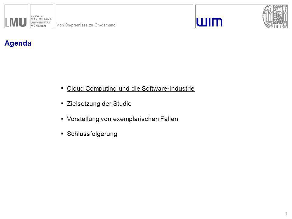 Von On-premises zu On-demand Agenda 12  Cloud Computing und die Software-Industrie  Zielsetzung der Studie  Vorstellung von exemplarischen Fällen  Schlussfolgerung