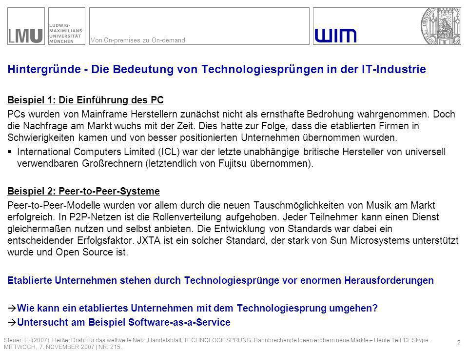 Von On-premises zu On-demand Hintergründe – Marktentwicklung insgesamt 3 Marwan, P.