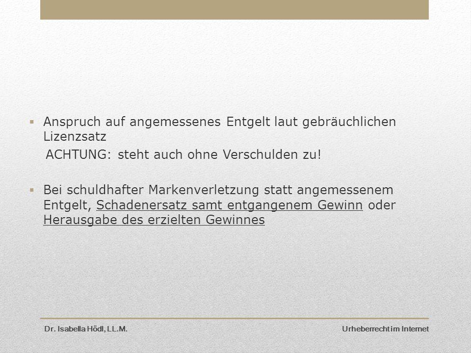 Dr. Isabella Hödl, LL.M. Urheberrecht im Internet  Anspruch auf angemessenes Entgelt laut gebräuchlichen Lizenzsatz ACHTUNG: steht auch ohne Verschul