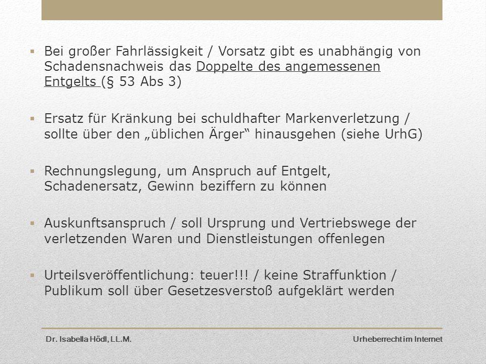 Dr. Isabella Hödl, LL.M. Urheberrecht im Internet  Bei großer Fahrlässigkeit / Vorsatz gibt es unabhängig von Schadensnachweis das Doppelte des angem