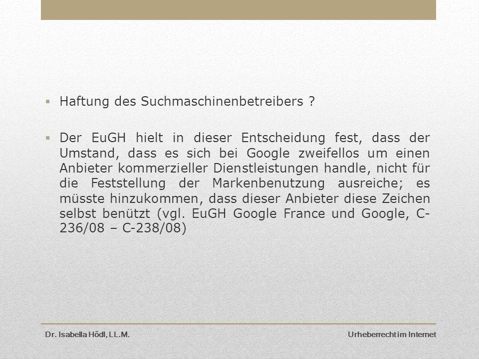  Haftung des Suchmaschinenbetreibers .