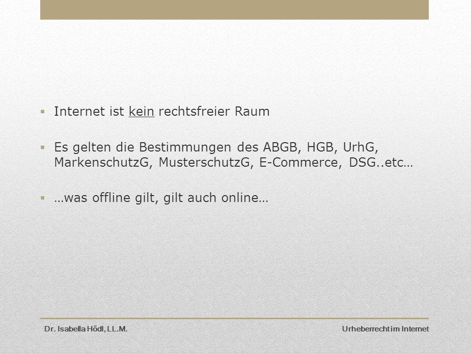  Internet ist kein rechtsfreier Raum  Es gelten die Bestimmungen des ABGB, HGB, UrhG, MarkenschutzG, MusterschutzG, E-Commerce, DSG..etc…  …was off
