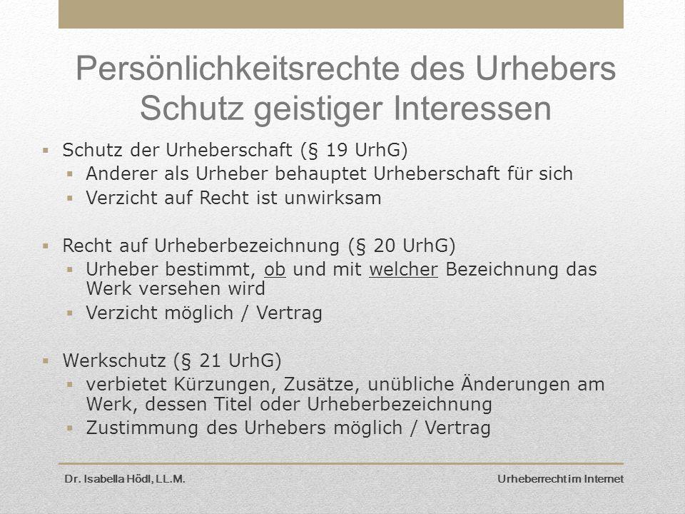 Dr. Isabella Hödl, LL.M. Urheberrecht im Internet Persönlichkeitsrechte des Urhebers Schutz geistiger Interessen  Schutz der Urheberschaft (§ 19 UrhG