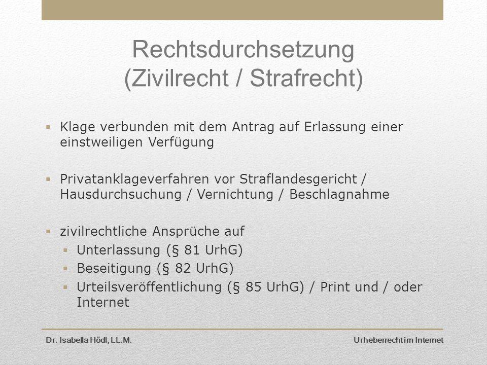 Dr. Isabella Hödl, LL.M. Urheberrecht im Internet Rechtsdurchsetzung (Zivilrecht / Strafrecht)  Klage verbunden mit dem Antrag auf Erlassung einer ei