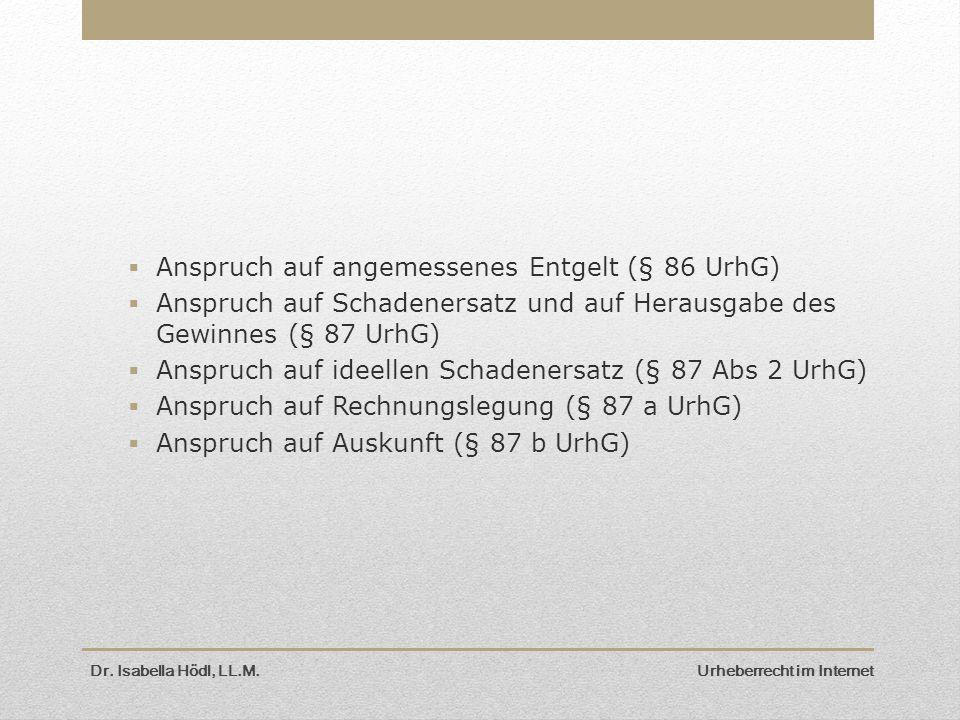 Dr. Isabella Hödl, LL.M. Urheberrecht im Internet  Anspruch auf angemessenes Entgelt (§ 86 UrhG)  Anspruch auf Schadenersatz und auf Herausgabe des