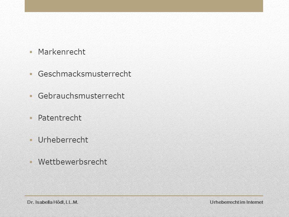  Markenrecht  Geschmacksmusterrecht  Gebrauchsmusterrecht  Patentrecht  Urheberrecht  Wettbewerbsrecht Dr. Isabella Hödl, LL.M. Urheberrecht im