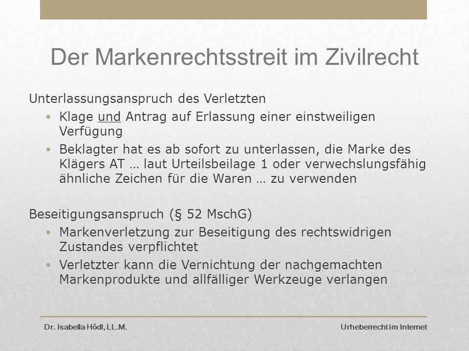 Der Markenrechtsstreit im Zivilrecht Unterlassungsanspruch des Verletzten  Klage und Antrag auf Erlassung einer einstweiligen Verfügung  Beklagter h