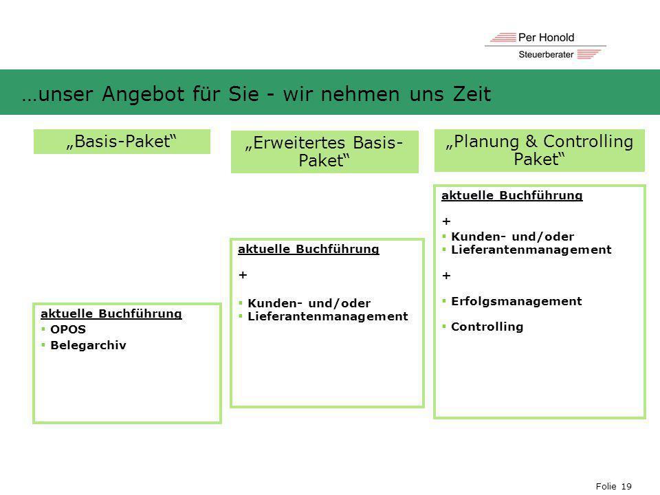 """Folie 19 …unser Angebot für Sie - wir nehmen uns Zeit """"Basis-Paket"""" """"Erweitertes Basis- Paket"""" """"Planung & Controlling Paket"""" aktuelle Buchführung + """