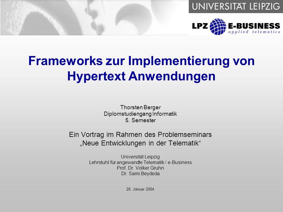 12 Frameworks zur Implementierung von Hypertext Anwendungen SUN – Model 1, Model 2 ClientClient Request JSP Bean Response Container / Middle Tier EIS Tier ClientClient Request Controller Servlet Response Container / Middle Tier EIS Tier View JSP Model Bean Model 1 Model 2