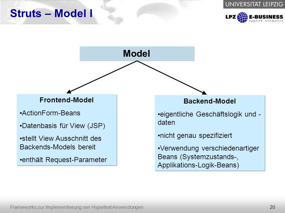 20 Frameworks zur Implementierung von Hypertext Anwendungen Struts – Model I Model Frontend-Model ActionForm-Beans Datenbasis für View (JSP) stellt Vi