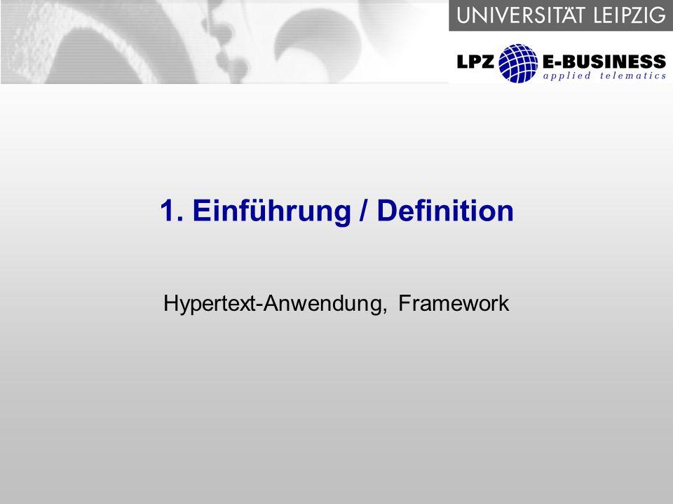 4 Frameworks zur Implementierung von Hypertext Anwendungen Hypertext-Anwendung Versuch einer Definition: - verteilte Anwendung, graphische Oberfläche im WWW - Gestaltung erfolgt mit HTML, WML, XML...