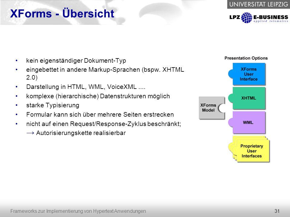 31 Frameworks zur Implementierung von Hypertext Anwendungen XForms - Übersicht kein eigenständiger Dokument-Typ eingebettet in andere Markup-Sprachen