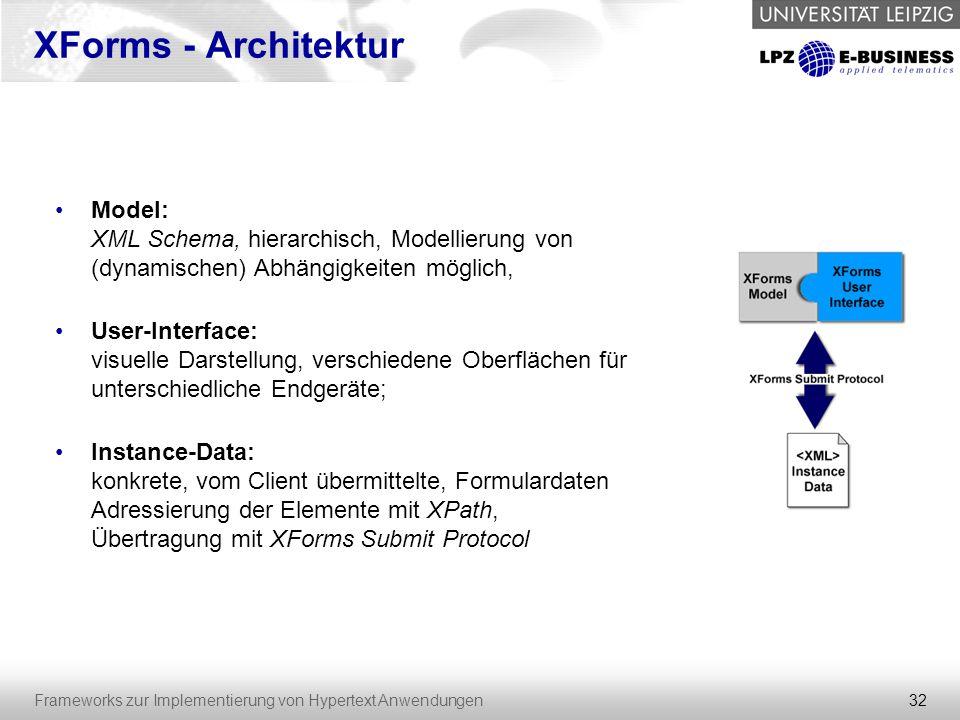32 Frameworks zur Implementierung von Hypertext Anwendungen XForms - Architektur Model: XML Schema, hierarchisch, Modellierung von (dynamischen) Abhän