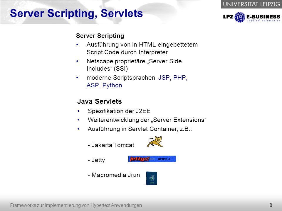 19 Frameworks zur Implementierung von Hypertext Anwendungen Struts – View II erweitern vorhandene JSP-Taglibs um sinnvolle Funktionen: - Labels in länderspezifischer Sprache - iterative und logische Funktionen - Definition und Einbetten von Beans einfach zu erlernen Custom-Tags möglich später wahrscheinlich durch JSTL (JCP, Bestandteil von JSP 2.0) abgelöst Benutzung einer Bean: Struts Tag-Set
