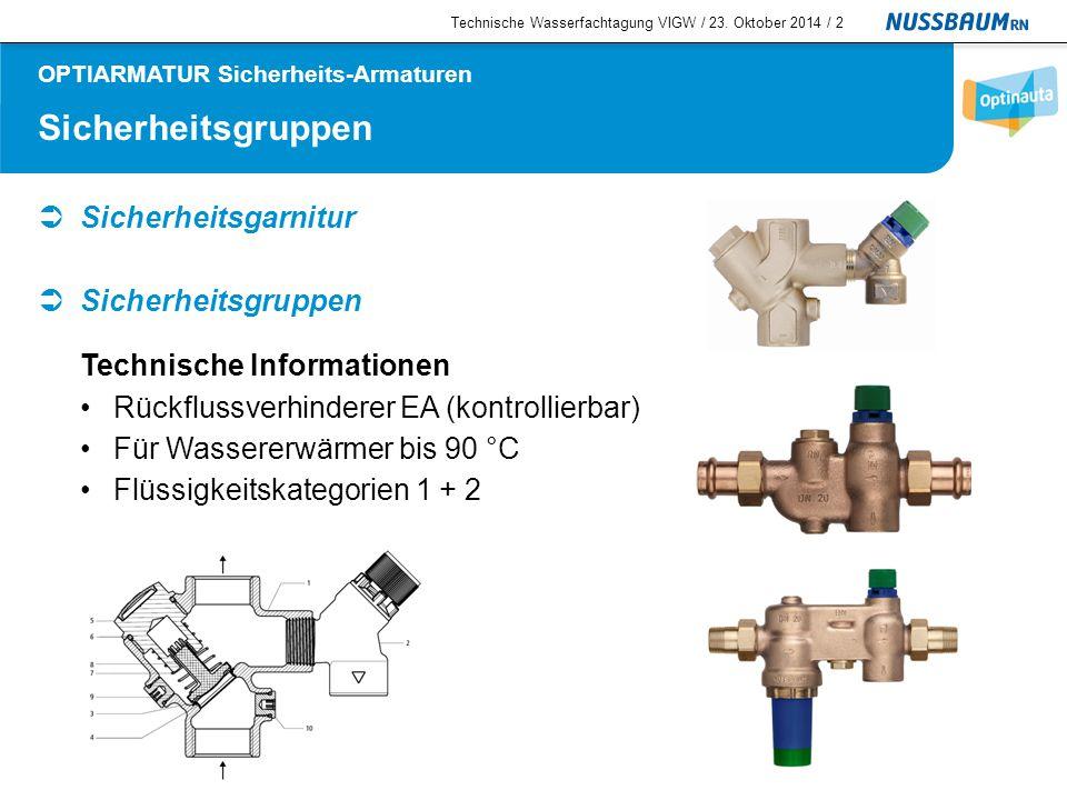 Rückhalteventile  Rückflussverhinderer EA (kontrollierbar) Technische Informationen Für Wasser bis 90 °C Flüssigkeitskategorien 1 + 2 Technische Wasserfachtagung VIGW / 23.