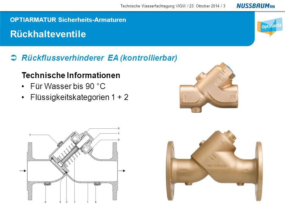 Rückhalteventile  Rückflussverhinderer EA (kontrollierbar) Technische Information Neue Rückflussverhinderer – Einheit Technische Wasserfachtagung VIGW / 23.