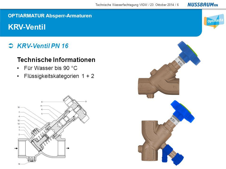Gartenventile Technische Wasserfachtagung VIGW / 23. Oktober 2014 /7 OPTIARMATUR Garten-Armaturen