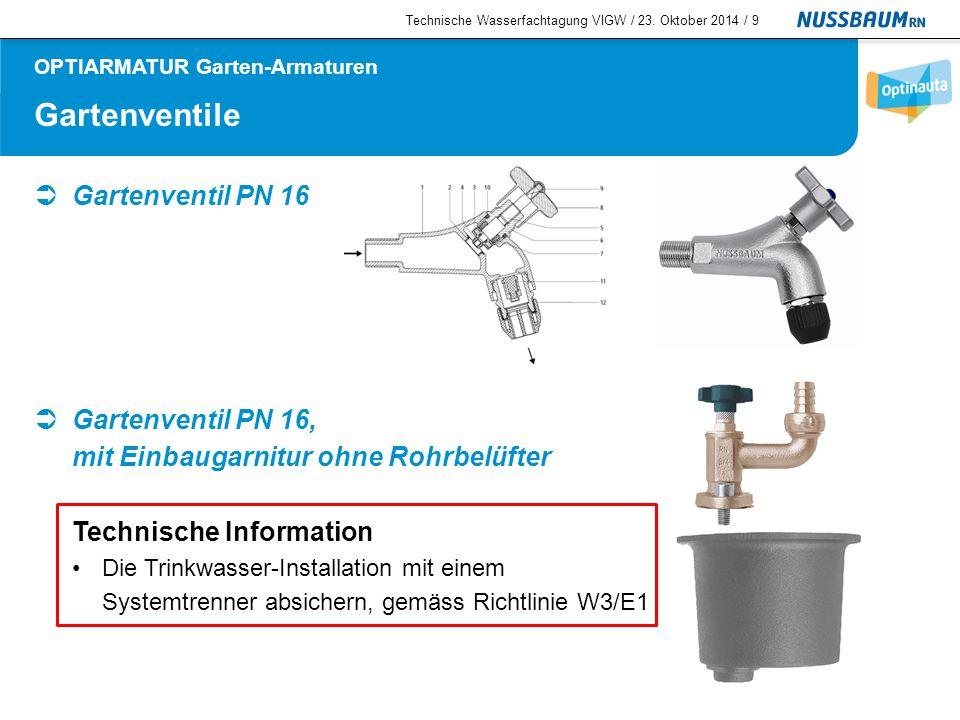 Systemtrenner  Systemtrenner CA PN 10 für freien Auslauf Technische Informationen Für Wasser bis 60 °C Minimaler Betriebsdruck: 150 kPa (1.5 bar) Flüssigkeitskategorien 1 – 3 Technische Wasserfachtagung VIGW / 23.