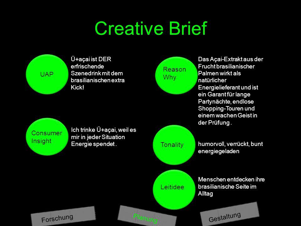 Creative Brief Planung Gestaltung Forschung UAP Consumer Insight Reason Why Tonality Leitidee Ü+açai ist DER erfrischende Szenedrink mit dem brasilianischen extra Kick.