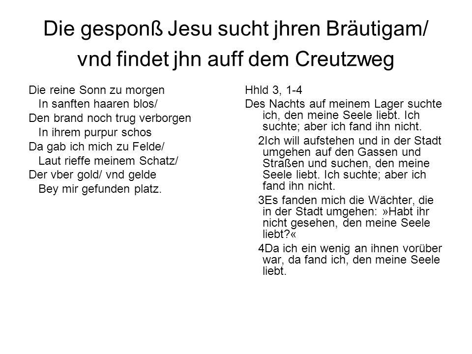 Die gesponß Jesu sucht jhren Bräutigam/ vnd findet jhn auff dem Creutzweg Die reine Sonn zu morgen In sanften haaren blos/ Den brand noch trug verborg