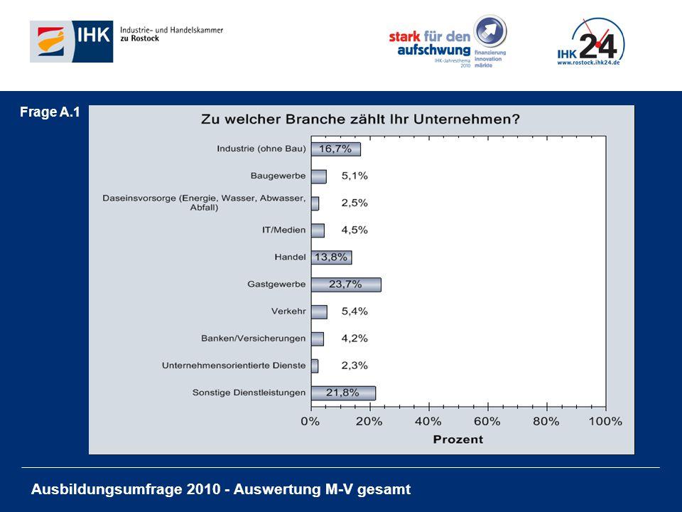 Ausbildungsumfrage 2010 - Auswertung M-V gesamt Frage A.1