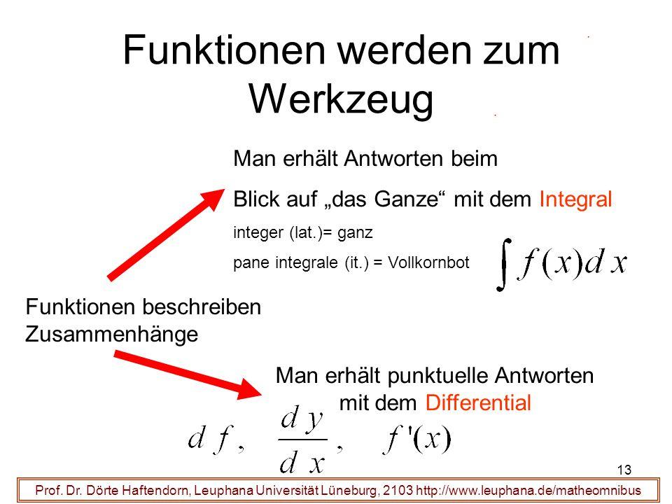 Prof. Dr. Dörte Haftendorn, Leuphana Universität Lüneburg, 2103 http://www.leuphana.de/matheomnibus Funktionen werden zum Werkzeug Funktionen beschrei