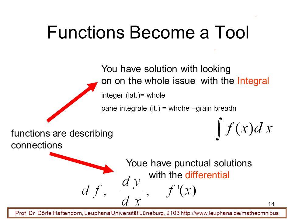 Prof. Dr. Dörte Haftendorn, Leuphana Universität Lüneburg, 2103 http://www.leuphana.de/matheomnibus Functions Become a Tool functions are describing c