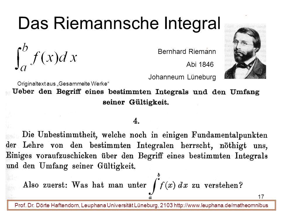 Prof. Dr. Dörte Haftendorn, Leuphana Universität Lüneburg, 2103 http://www.leuphana.de/matheomnibus Das Riemannsche Integral Bernhard Riemann Abi 1846
