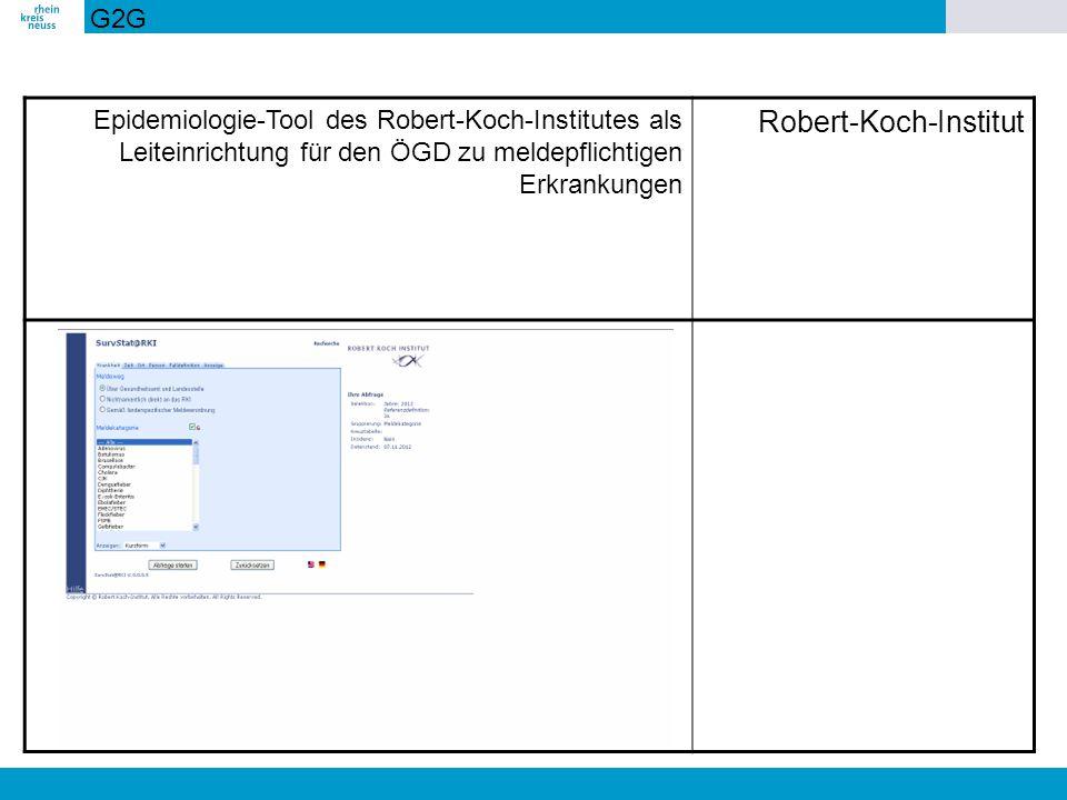 Epidemiologie-Tool des Robert-Koch-Institutes als Leiteinrichtung für den ÖGD zu meldepflichtigen Erkrankungen Robert-Koch-Institut G2G