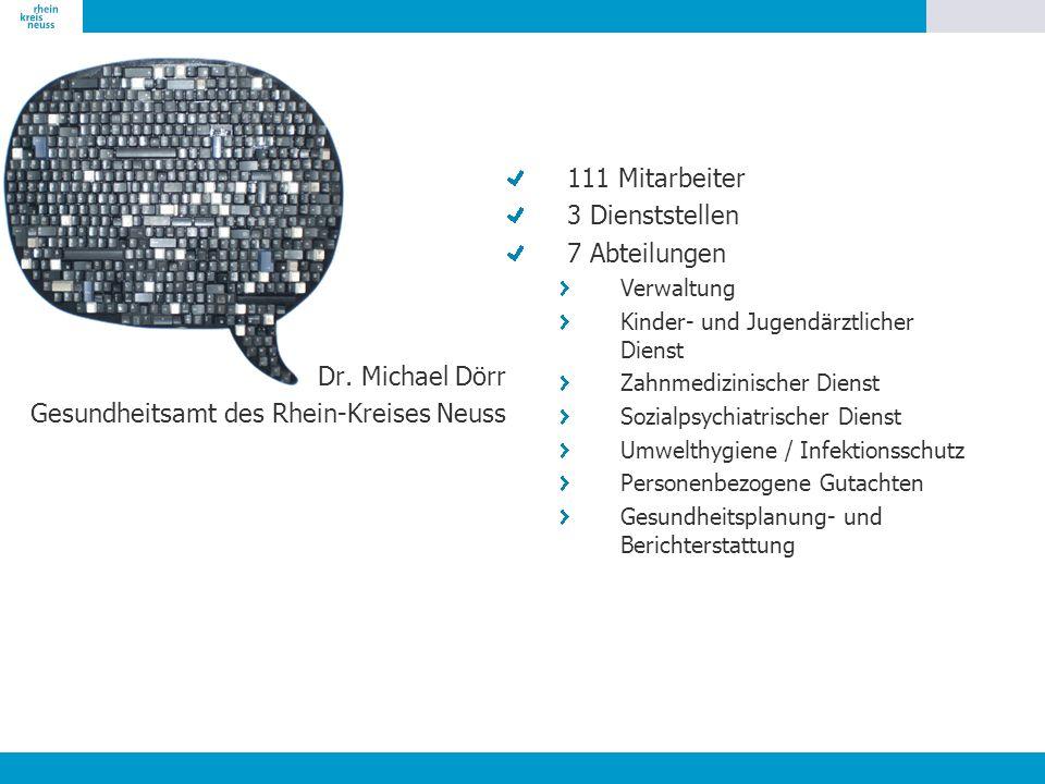 Dr. Michael Dörr Gesundheitsamt des Rhein-Kreises Neuss 111 Mitarbeiter 3 Dienststellen 7 Abteilungen Verwaltung Kinder- und Jugendärztlicher Dienst Z