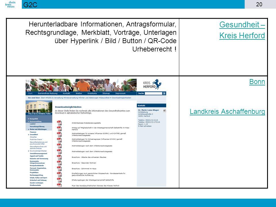 20 Herunterladbare Informationen, Antragsformular, Rechtsgrundlage, Merkblatt, Vorträge, Unterlagen über Hyperlink / Bild / Button / QR-Code Urheberre