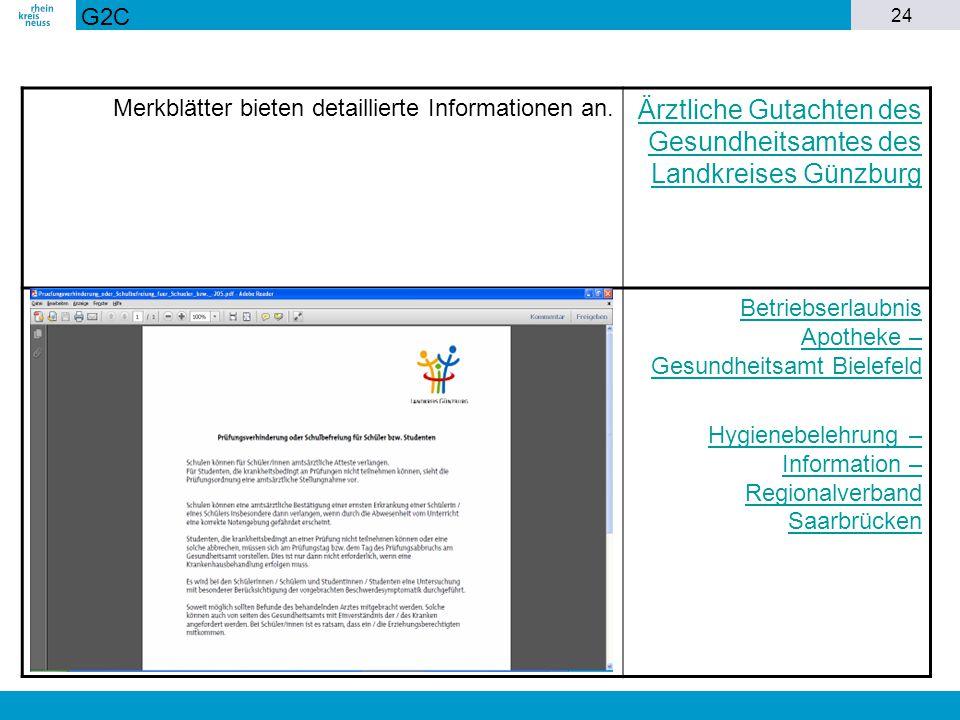24 Merkblätter bieten detaillierte Informationen an. Ärztliche Gutachten des Gesundheitsamtes des Landkreises Günzburg Betriebserlaubnis Apotheke – Ge
