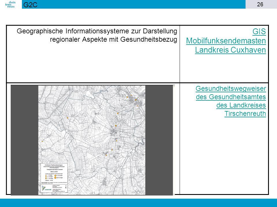 26 Geographische Informationssysteme zur Darstellung regionaler Aspekte mit Gesundheitsbezug GIS Mobilfunksendemasten Landkreis Cuxhaven Gesundheitswe