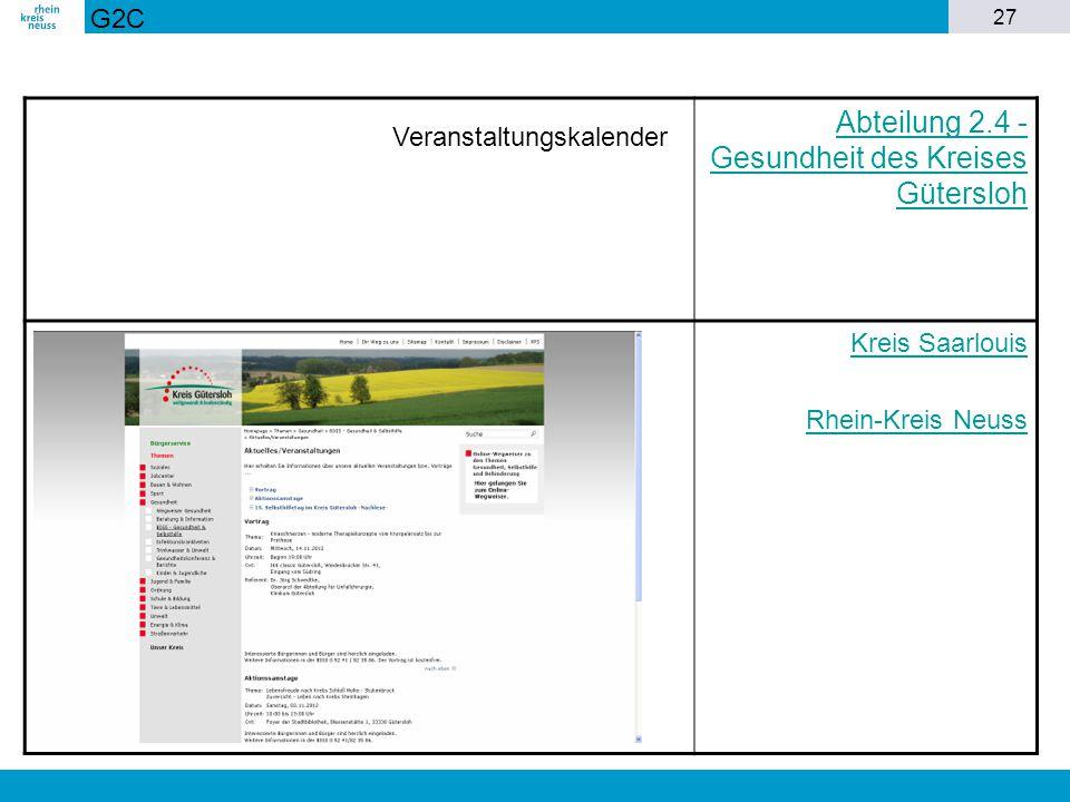 27 Abteilung 2.4 - Gesundheit des Kreises Gütersloh Kreis Saarlouis Rhein-Kreis Neuss G2C Veranstaltungskalender